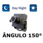 Mini Camera Ccd 1/3 Maior Angulo 150° + Dome