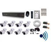 Kit Cftv 8 Cam Infra Ir-cut Hd 1tb Dvr 16canais + Audio