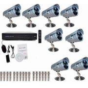 Kit Cftv 8 Cameras 2000 Linhas Ir Cut 3 Leds Dvr 8 Canais
