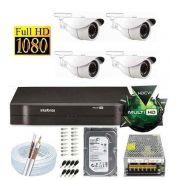 Kit Dvr 4 Canais Intelbras 4 Câmeras 2 Mega Full Hd 1080p