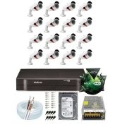Kit Cftv Ahd 16 Cameras 720p Hd Ir +dvr 16 Ch Intelbras Mhdx