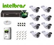 Kit Cftv Ahd 8 Cameras 720p Hd Ir + Dvr 8 Ch Intelbras Mhdx