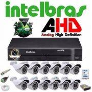 Kit Cftv Dvr 16 Ch Intelbras Mhdx 12 Cam Ahd 1.0 + Hd 2 Tb