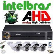 Kit Cftv Dvr 4 Ch Intelbras Mhdx +4 Câmeras Ahd 1.3 + Hd 1tb