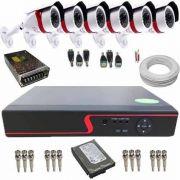 Kit Cftv Dvr 8ch P2p H264 + 6 Câmera Ahd 720p + Hd 500gb