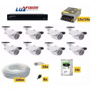 Kit Cftv Dvr Luxvision 8 Cameras Infra Ahd 1.3mp Hd + Audio