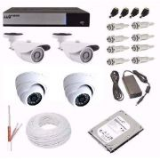 Kit Cftv Hd Luxvision Full Hd Dvr 4 Ch 4 Câmeras Ahd 2.0mp