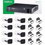 Kit Cftv Ip Nvr Nvd 1208 Intelbras + 8 Camera Ip Vip 1120 B