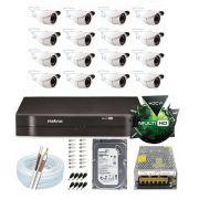 Kit Dvr 16 Canais Multi Hd Intelbras Câmera 2 Mega Full Hd