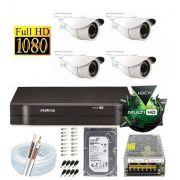 Kit Dvr 4 Canais Intelbras 4 Câmeras 2 Mega Full Hd + Hd 2tb