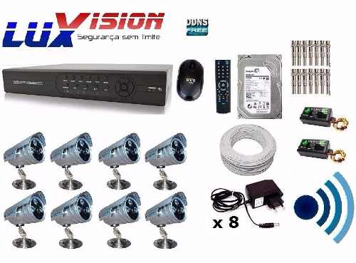 Kit Cftv 8 Cam Infra Ir-cut Dvr 16 Canais Com Audio