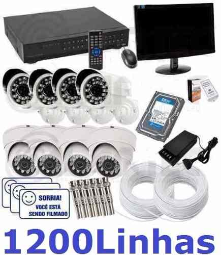 Kit Cftv Dvr Stand Alone 8 Cam Infra + Hd 1tb + Monitor 200m