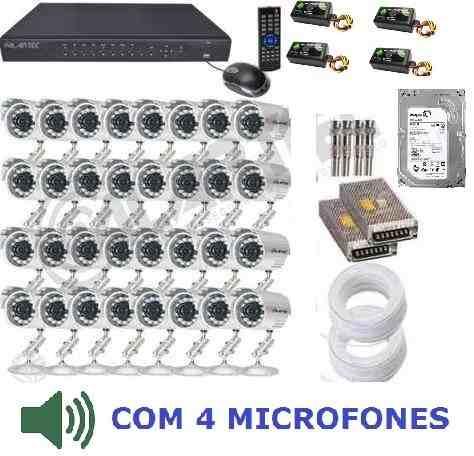 Kit Segurança Cftv Dvr 32 Cameras 1500 Linhas + Hd 2tb