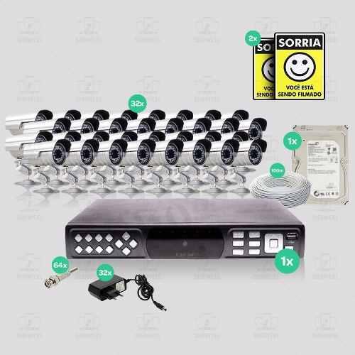Kit Segurança Dvr Stand Alone 32 Canais 1 Hd 32 Câmera Infra