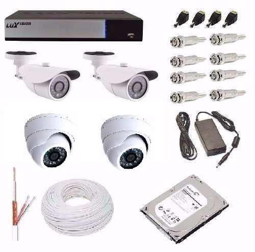Kit Cftv Dvr Luxvision + 3 Câmeras Ahd-m 1.3 Mega Hd