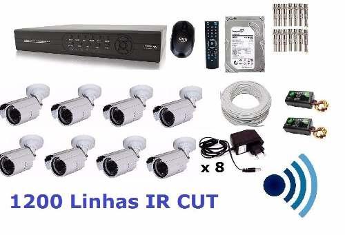 Kit Cftv 8 Cam Infra Ir-cut Hd 1tb Dvr16 Canais + Audio