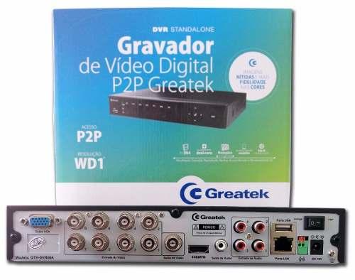 Kit Dvr 8 Canais Greatek + 4 Cameras 1500l + 8 Conectores