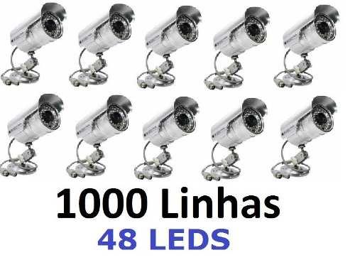 10 Cameras Cftv Infravermelho Segurança 1000 Linhas 48 Leds