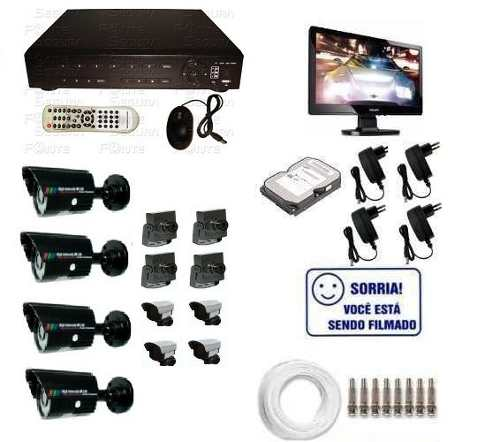 Kit Monitoramento Dvr Stand Alone + 8 Cameras + Monitor + Hd