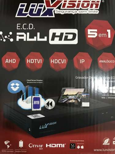 Kit Cftv Hd Luxvision Full Hd Dvr 8 Ch 8 Câmeras Ahd 1.3mp