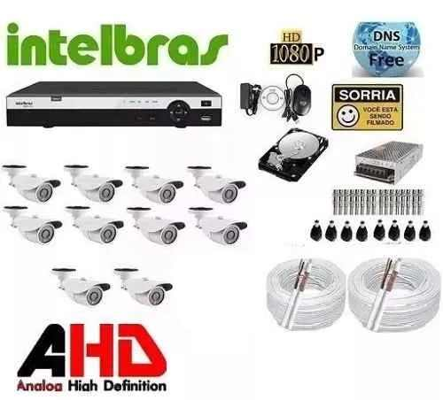 Kit Cftv Ahd 12 Camera 720p Hd Ir+dvr 16 Canais Intelbras