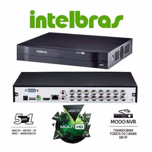 Kit Cftv Dvr 16 Ch Intelbras Mhdx 12 Cam Ahd 1.0 + Hd 2 Tb