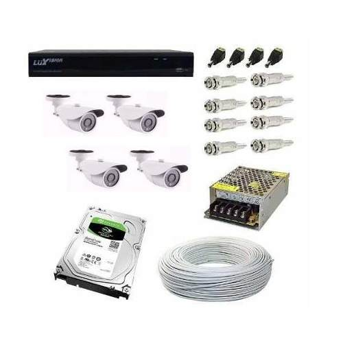 Kit Cftv Dvr 4 Cameras Hd 960p 2mp Dvr Luxvision 5x1 Com Hd