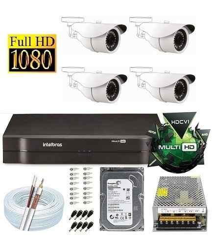 Kit Dvr 4 Canais Intelbras 4 Câmeras 2 Mega Full Hd 1080p