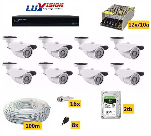 Kit Cftv Luxvision Full Hd Dvr 8 Ch 8 Câmeras 2tb+100mts