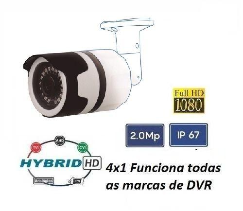 Camera Fullhd 4x1 Ahd Cvi Tvi 1080p 2mp + Fonte + Conector