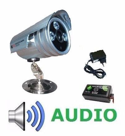 Camera Infra Visão Noturna + Microfone Áudio Com Fonte