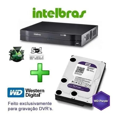 Dvr Intelbras Mhdx 1008 4tb Purple + 4 Câmeras Vhd 3230b Top