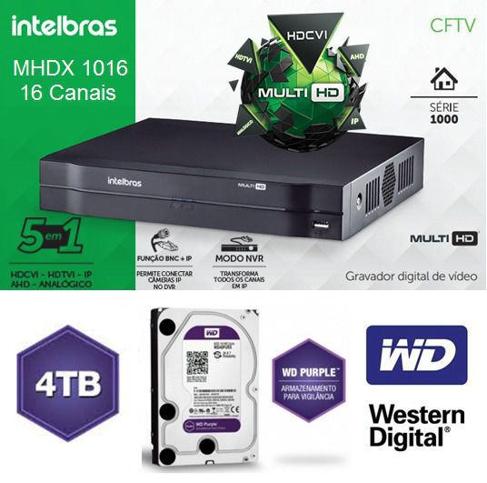 Dvr Stand Alone Mhdx Multihd 16ch 1016 + Hd Purple 4tb