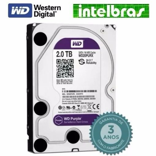 Hd 2tb Purple 2 Tb Western Digital Intelbras Wd Cftv Dvr Pc