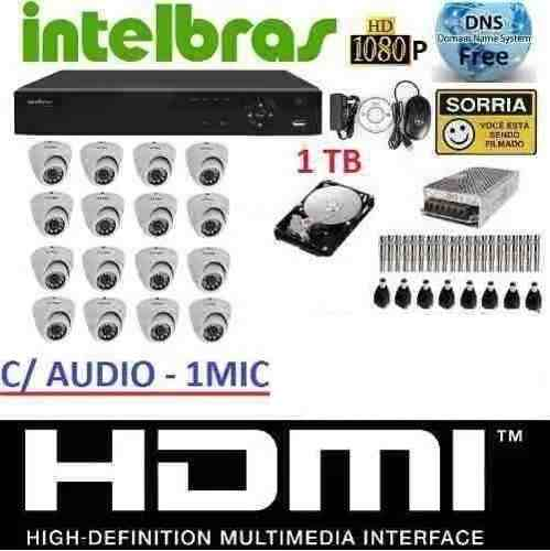 Kit 16 Cameras Infra Dome Ahd Dvr 16 Canais Intelbras Hd 1tb