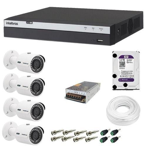 Kit 4 Cameras Vhd 3230b Full Hd 1080p Dvr 3108 8ch Intelbras