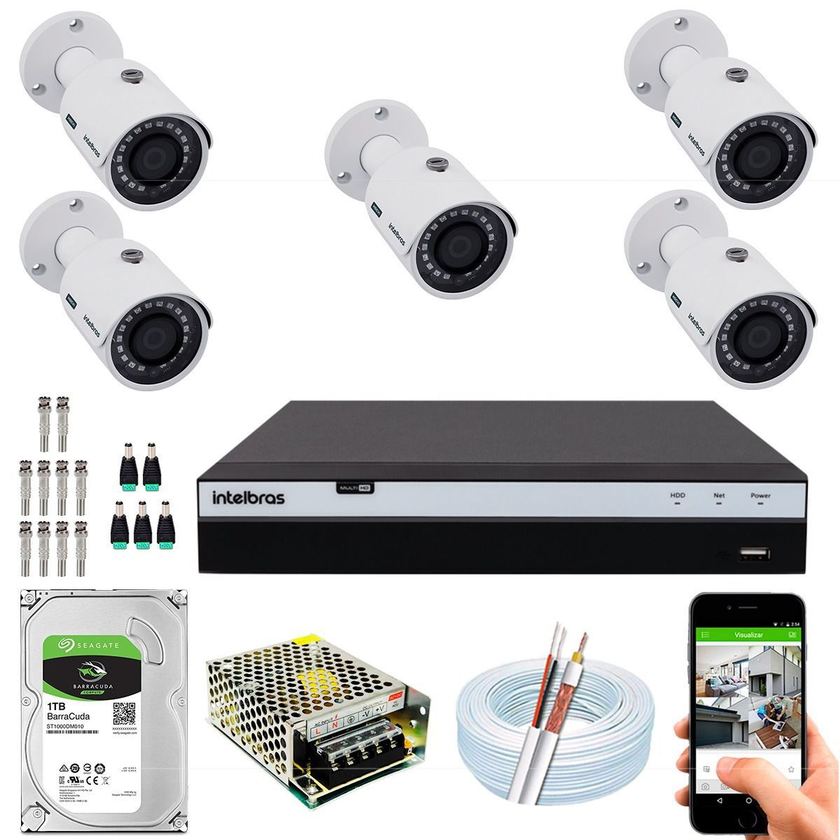 Kit 5 Câmeras Intelbras Full Hd 30m 1080p 3230b G4 Mhdx 3108
