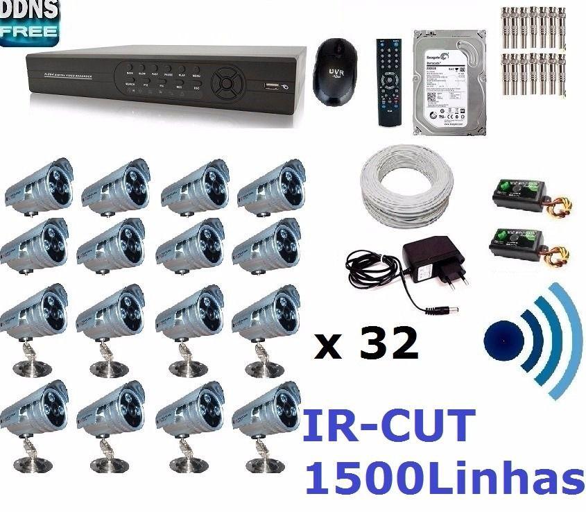 Kit Cftv 24 Cameras 2000l 30m Infra+dvr 32 Canais P2p+ Fonte