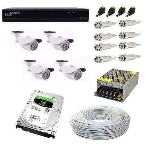 Kit Cftv 4 Cameras Hd 720p 1.3mp Dvr Luxvision 5x1 Com Hd