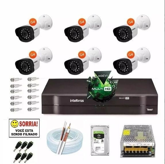 Kit Cftv 6 Cameras Multi Hd 720p Dvr 8 Canais Intelbras 1108