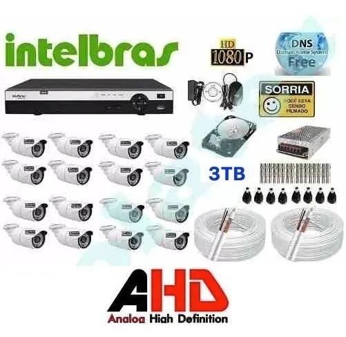 Kit Cftv Ahd 16 Cameras 720p Hd 3tb Dvr 16 Ch Intelbras 1016
