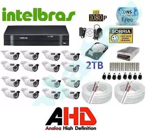 Kit Cftv Ahd 16 Cameras 720p Hd Ir+dvr 16 Canais Intelbras