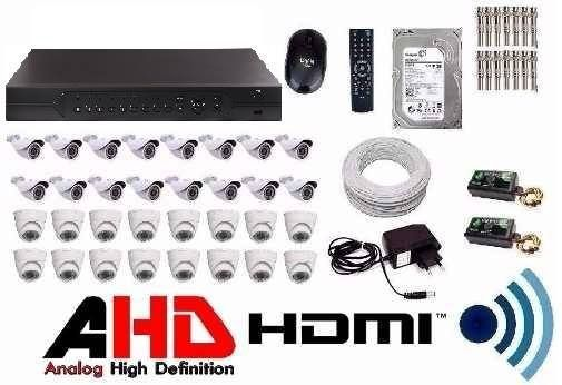 Kit Cftv Dvr 32 Cameras Infravermelho Ahd 1.3mp Hd + 2tb