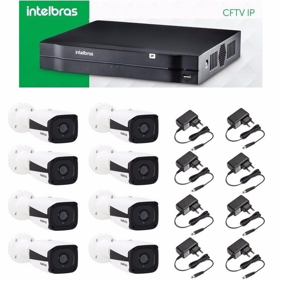 Kit Cftv Ip Nvr Nvd 1208 Intelbras + 8 Camera Ip Vip 1120 B