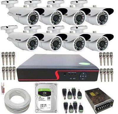 Kit de Monitoramento 8 Câmeras Infravermelho Full HD 2 Megapixel 1080p + DVR Com Acesso Via Celular