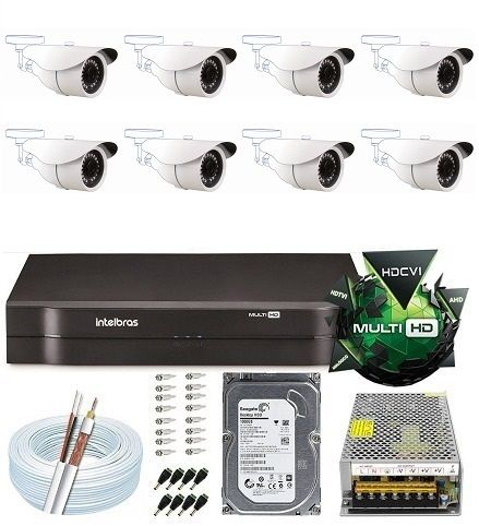 Kit Dvr 8 Canais Hd Intelbras 8 Câmeras 2 Mega Full Hd 1080p