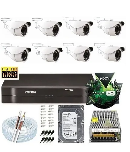 Kit Dvr 8 Canais Intelbras Câmeras 2 Mega Full Hd Intelbras