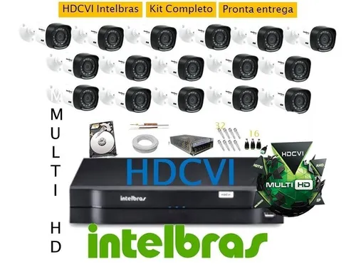Kit Intelbras 16 Cam + Dvr 16ch Multihd Intelbras G3 C/ 2tb