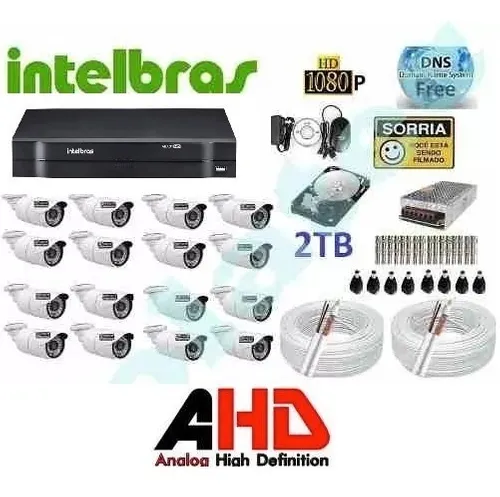 Kit Intelbras Full Hd 16 Cameras 1080p Full Hd Ir +dvr 16ch