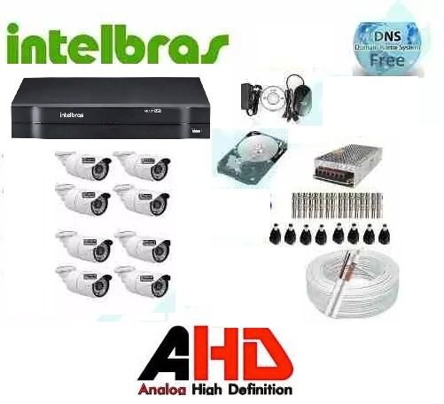 Kit Monitoramento 8 Cameras Hd Ir +dvr 8 Ch Intelbras Mhdx